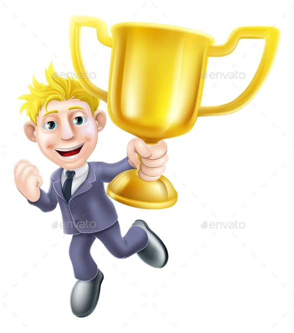 Business Man Winner and Trophy - People Characters