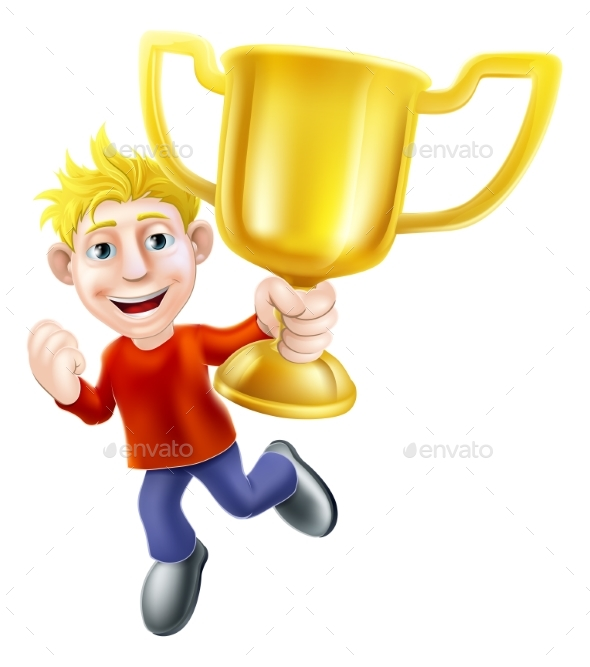 Cartoon Man and Winners Trophy - People Characters