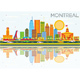Montreal Skyline with Color Buildings, Blue Sky and Reflections