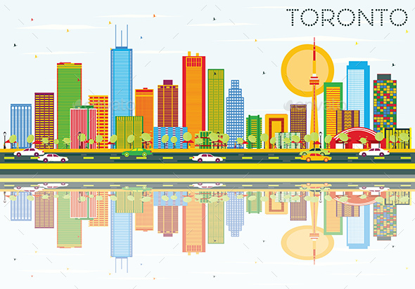 Toronto Skyline with Color Buildings, Blue Sky and Reflections - Buildings Objects