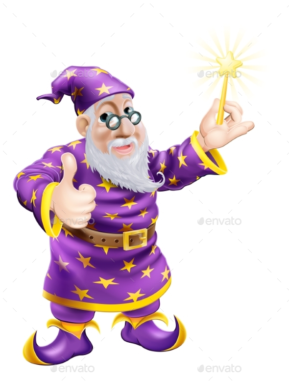 Thumbs Up Wizard with Wand - People Characters