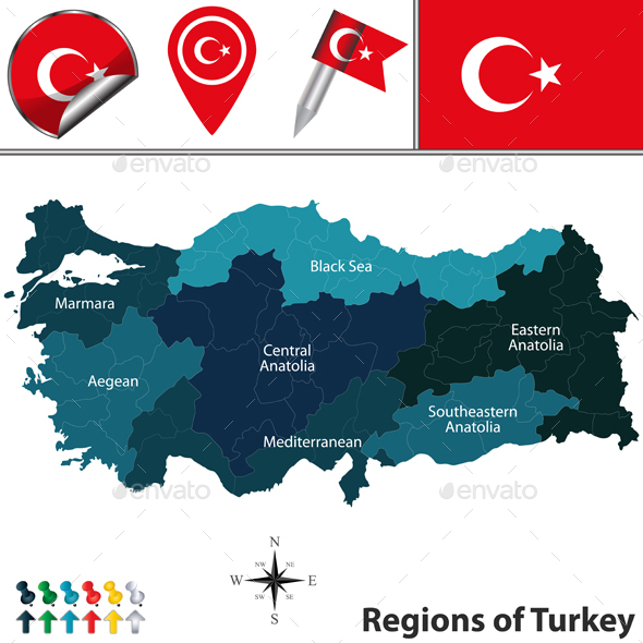 Map of Turkey with Regions - Travel Conceptual