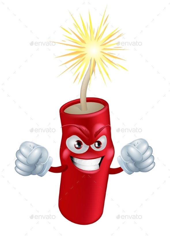 Angry Cartoon Firecracker - Miscellaneous Vectors