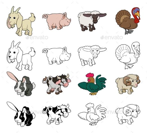 Cartoon Farm Animal Illustrations - Animals Characters