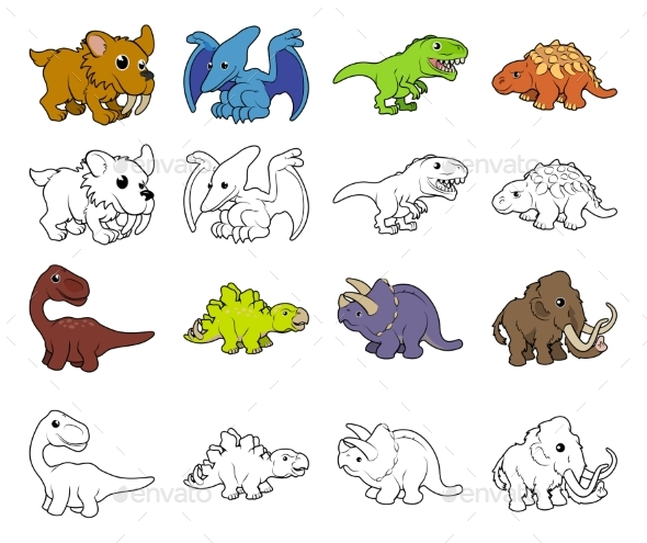 Cartoon Dinosaur Illustrations - Animals Characters
