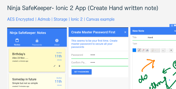Ninja SafeKeeper: An Ionic 2 app build for note and password keeping - CodeCanyon Item for Sale