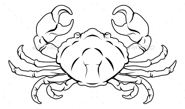 Stylised Crab Illustration - Animals Characters