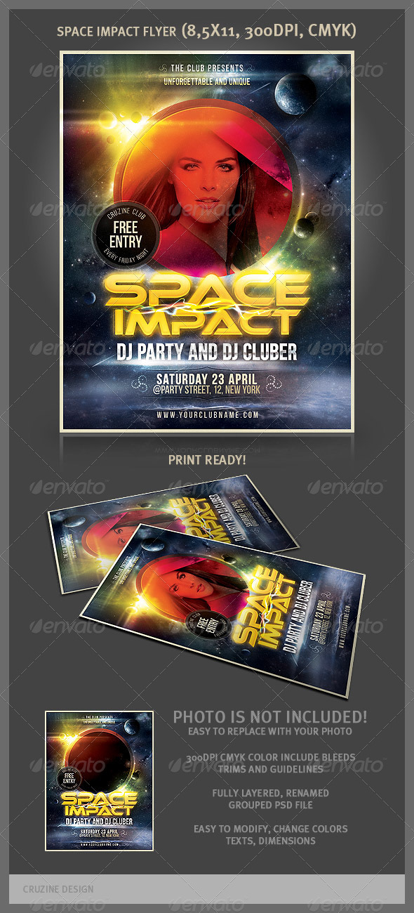 Space Impact Party Flyer - Clubs & Parties Events