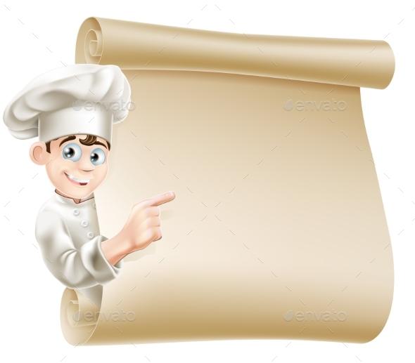 Cartoon Chef and Menu - Miscellaneous Vectors