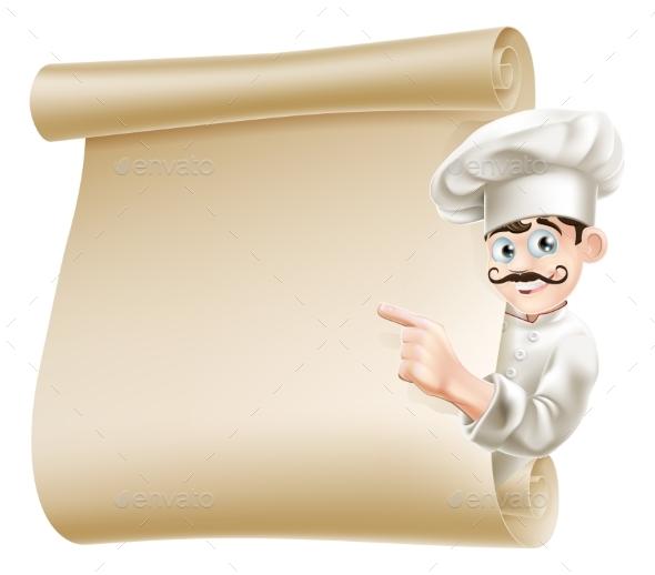 Chef Pointing at Menu - Miscellaneous Vectors