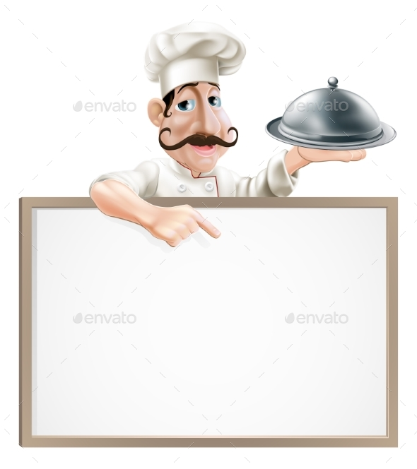 Chef with Platter Pointing at Sign - Miscellaneous Vectors