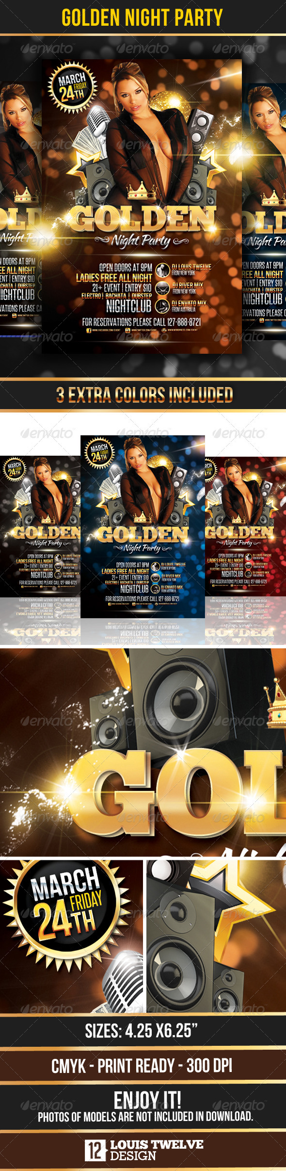 Golden Night Party - Flyer Template - Clubs & Parties Events