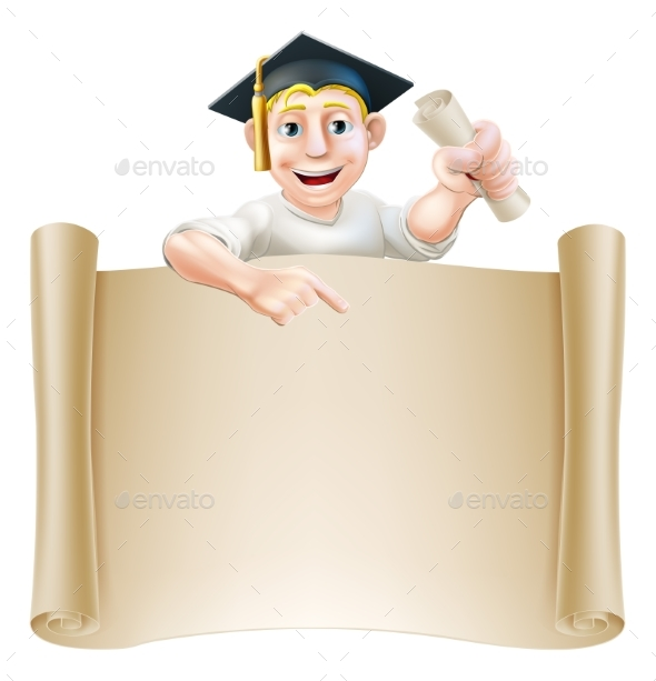 Graduate and Scroll Banner Sign - Miscellaneous Vectors