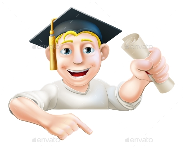 Learning Graduate Man Pointing Down - Miscellaneous Vectors