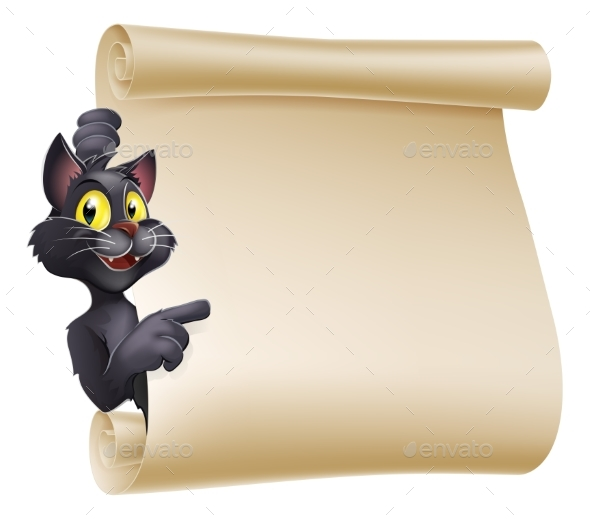 Halloween Cat Scroll - Backgrounds Decorative