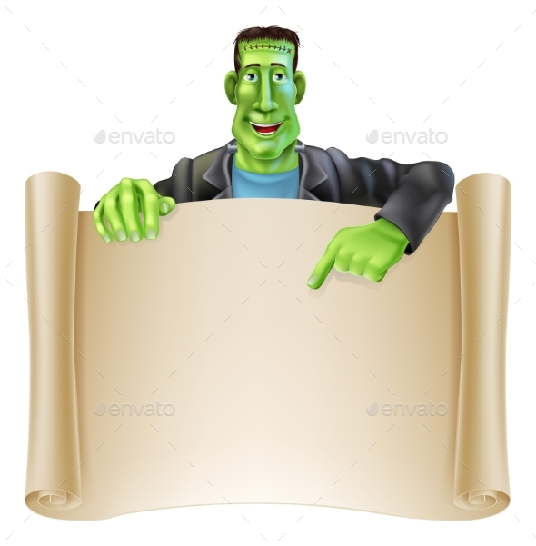 Frankenstein Halloween Sign Scroll - Backgrounds Decorative