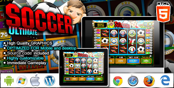Slot Machine Ultimate Soccer - HTML5 Casino Game nulled free download