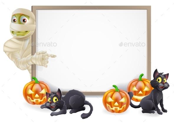 Halloween Mummy Sign - Backgrounds Decorative