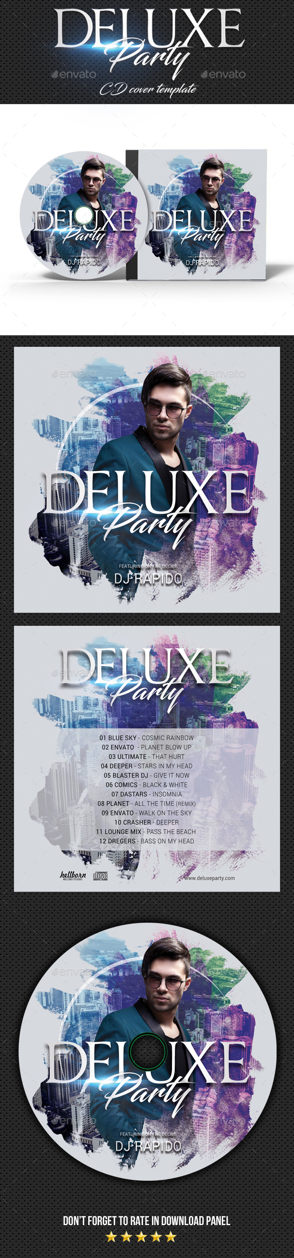 Deluxe Dj Party CD Cover - CD & DVD Artwork Print Templates