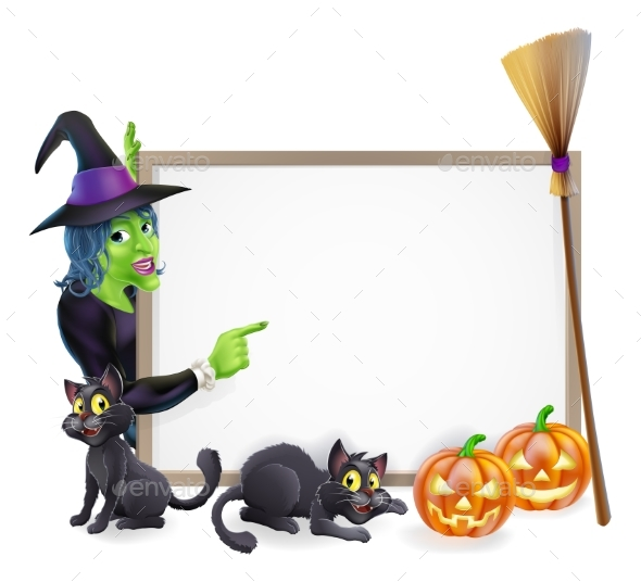 Halloween Witch Background Sign - Miscellaneous Vectors