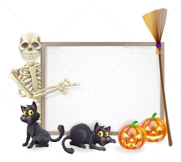 Skeleton Halloween Sign - Miscellaneous Vectors