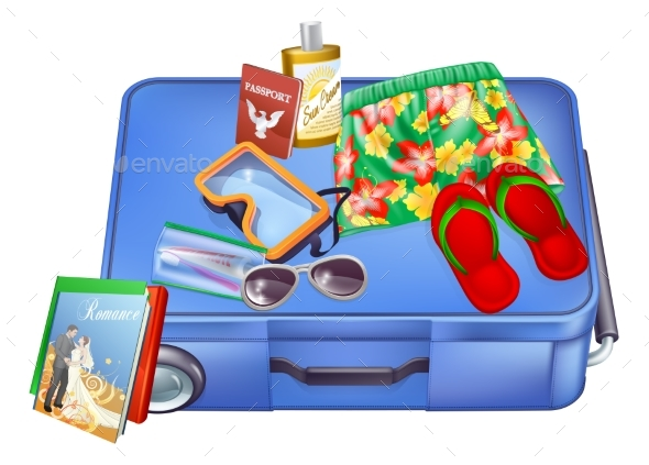 Suitcase and Vacation Items - Seasons/Holidays Conceptual