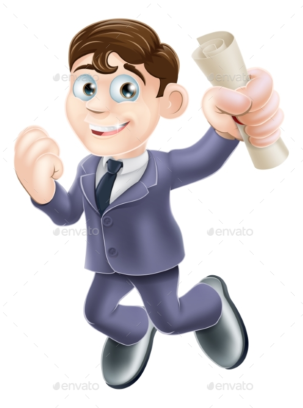 Businessman and Scroll - People Characters