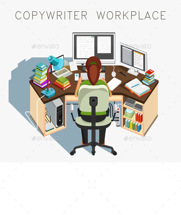 Copywriter Workplace - People Characters