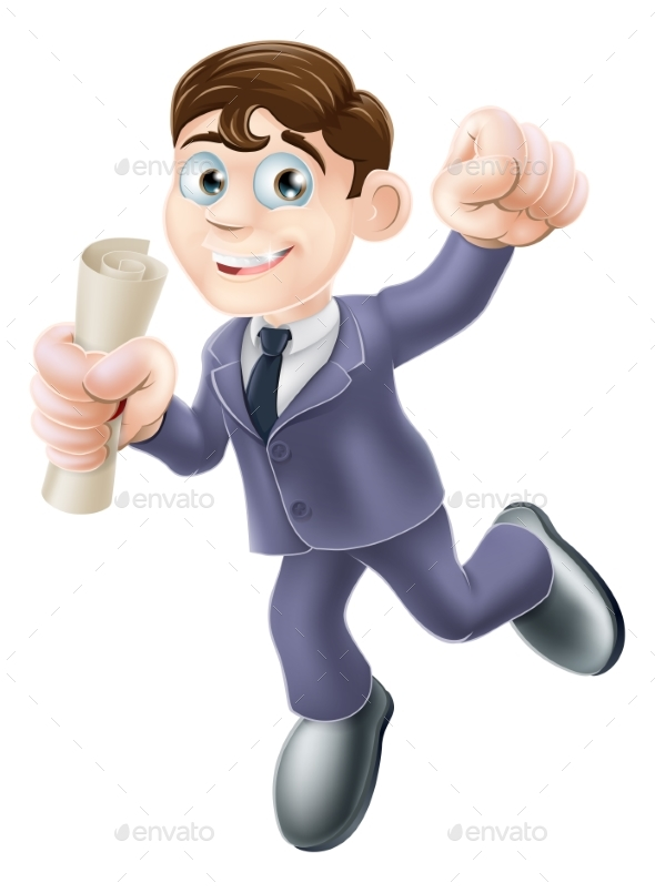 Businessman with Scroll - People Characters