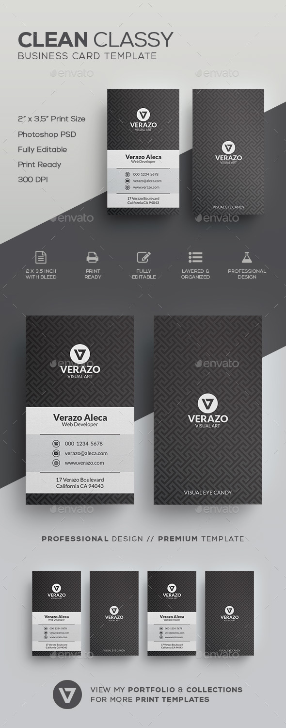 Clean Classy Business Card Template - Corporate Business Cards