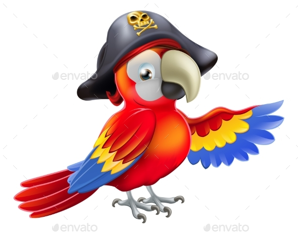 Cartoon Pirate Parrot - Animals Characters