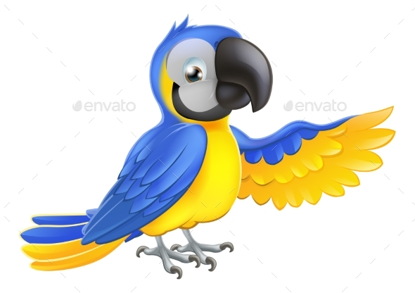 Blue and Yellow Parrot - Animals Characters