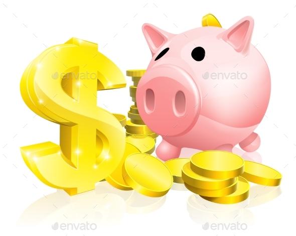 Dollar Sign Piggy Bank - Miscellaneous Vectors