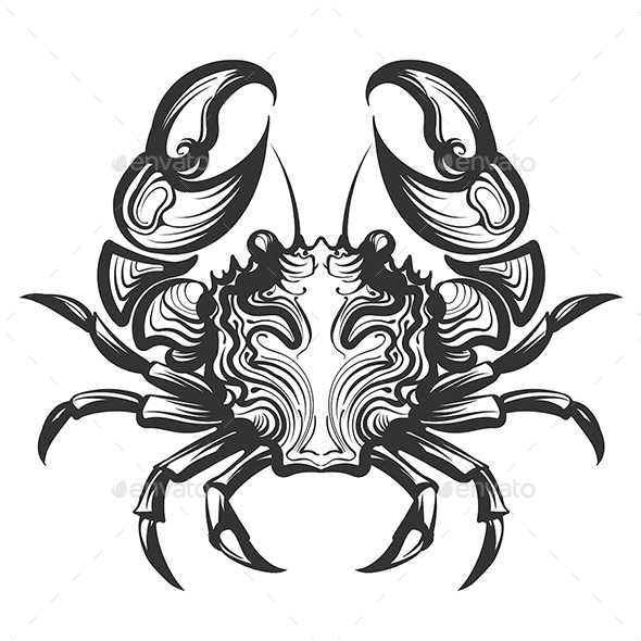 Crab Engraving Illustration - Animals Characters