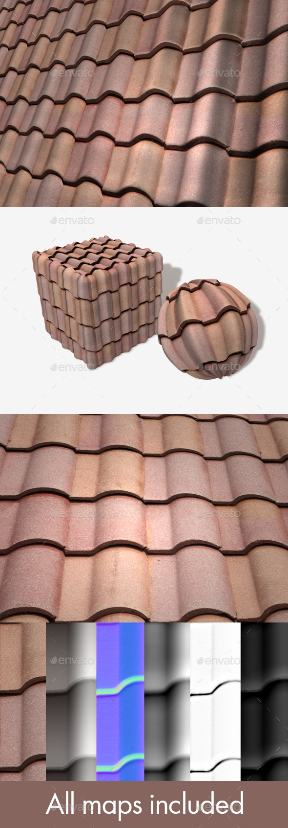 Terracotta Roof Tiles Seamless Texture - 3DOcean Item for Sale