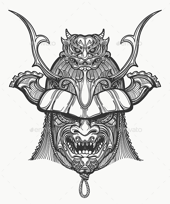 Japan Samurai Mask - Tattoos Vectors