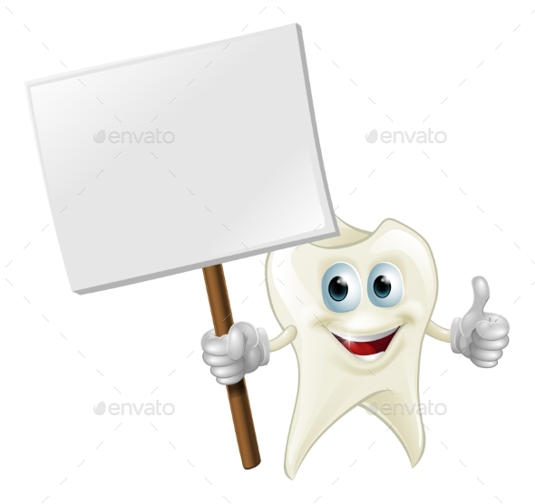 Tooth Man Holding a Sign - Health/Medicine Conceptual