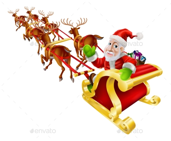Cartoon Christmas Santa Claus Sled - Backgrounds Decorative