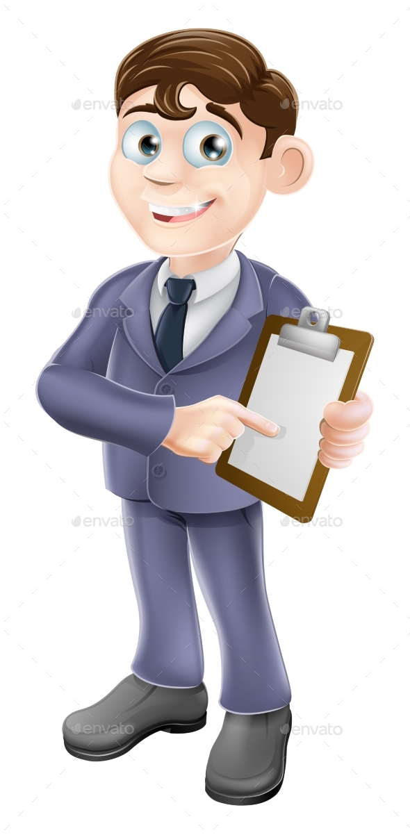 Businessman Holding Survey or Clipboard - People Characters