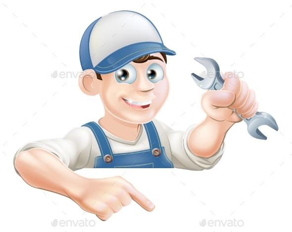 Cartoon Mechanic Peeking Over Sign - Miscellaneous Vectors