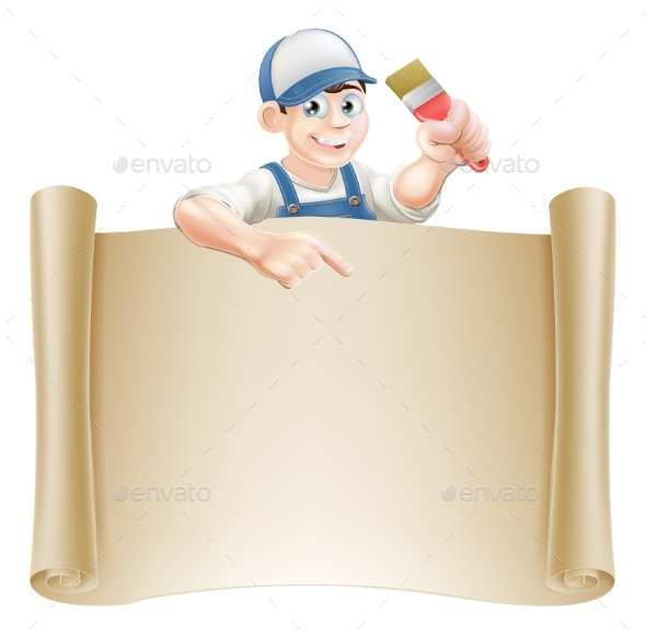 Paintbrush Guy and Scroll - Miscellaneous Vectors
