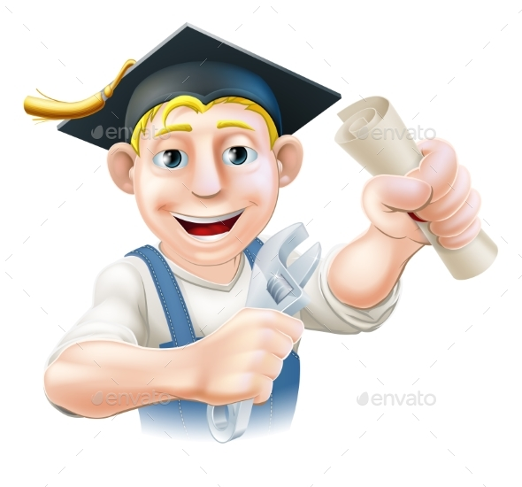 Graduate Plumber or Mechanic - Miscellaneous Vectors