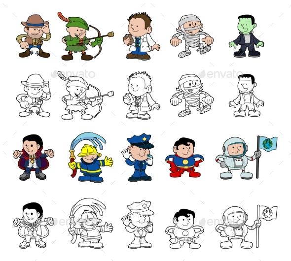 Cartoon Characters Set - Sports/Activity Conceptual