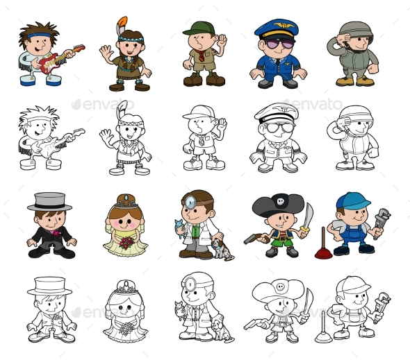 Cartoon People Set - People Characters
