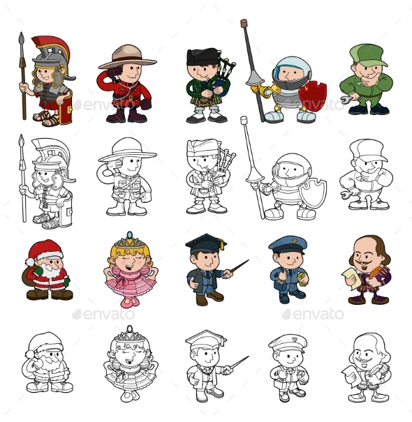 Cartoon People Set - Sports/Activity Conceptual