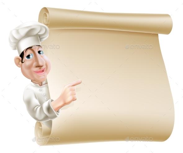 Chef Scroll Menu Illustration - Miscellaneous Vectors
