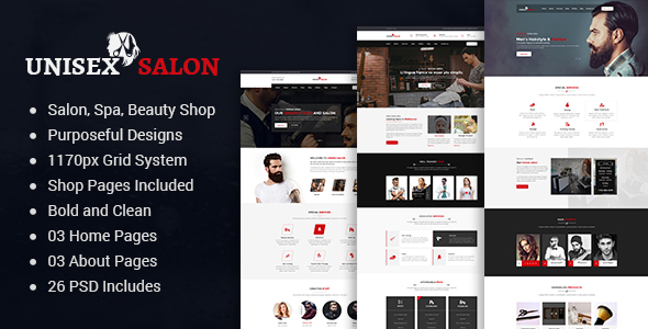 Unisex | Barber Shop, Hair, Spa and Beauty Salon PSD Template