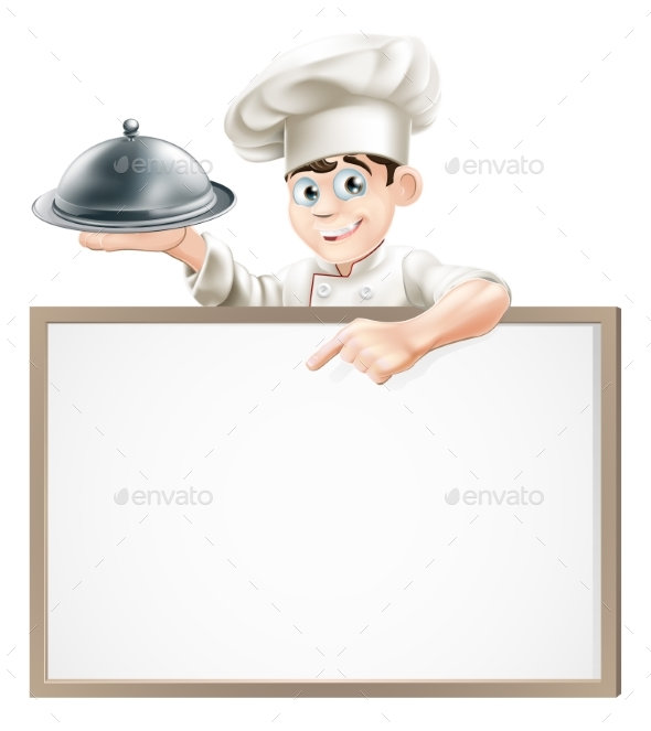 Cartoon Chef with Cloche and Menu - Miscellaneous Vectors