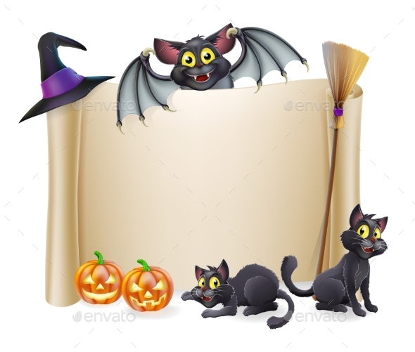 Halloween Scroll Sign and Bat - Miscellaneous Vectors