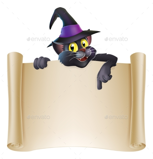 Halloween Cat Scroll Sign - Miscellaneous Vectors